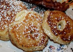 The Farmhouse Foodie: Grandpap Mike's Fried Apple Rings.    I have done the lazy way and used the pancake batter in a can with sliced apples when I have a craving.