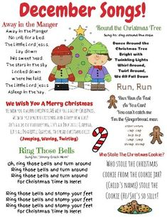 December songs and finger plays! This resource can be used for circle time in a daycare, preschool, Pre-K, or Kindergarten classroom. This is also a great resource to send home with children to sing the seasonal songs with their families. Preschool Poems, Preschool Music, Preschool Curriculum, Preschool Lesson Plans, Preschool Learning, Preschool Activities, Preschool Christmas Songs, Montessori Elementary, Homeschooling