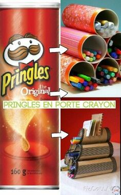 Pringles Can upcycle - A girl and a glue gun Diy Crafts Hacks, Diy Projects, Pringles Can, Egg Carton Crafts, Science Projects For Kids, Diy Box, Glue Gun, Recycled Crafts, Cool Things To Make