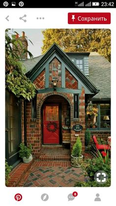 """The owner of Standard Brick & Tile in Portland, Oregon, created a media blitz after he commissioned this """"English Cottage"""" as a model home in the Laurelhurst neighborhood. A Tudor house blends vintage charm and cozy furnishings. Cozy Cottage, Cottage Homes, Cozy House, Tudor Cottage, Brick Cottage, English Cottage Exterior, Tudor House Exterior, English Tudor Homes, English Cottage Style"""