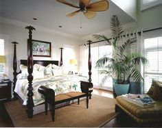 This beautiful island style coastal bedroom is our room of the day. Aqua hues and natural textures create an island feel in this costal bedroom. Costal Bedroom, Beach Bedroom Decor, Beach House Bedroom, Home Bedroom, Coastal Homes, Coastal Living, West Indies Style, Tropical Bedrooms, Tropical Decor