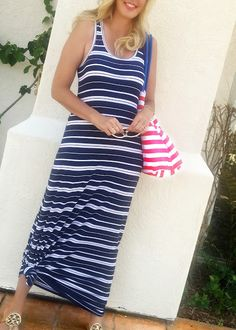 Navy Blue and White Striped Maxi Tank Dress