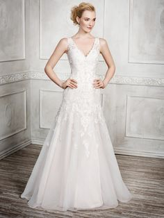 kenneth winston fall 2016 bridal sleeveless thick lace strap v neck heavily embellished bodice beautiful elegant a line wedding dress sheer lace back chapel train mv -- Kenneth Winston Fall 2016 Wedding Dresses Sheer Wedding Dress, Wedding Dresses With Straps, 2016 Wedding Dresses, Designer Wedding Dresses, Wedding Gowns, Wedding Bride, Fit And Flare Skirt, Satin Color, A Line Gown
