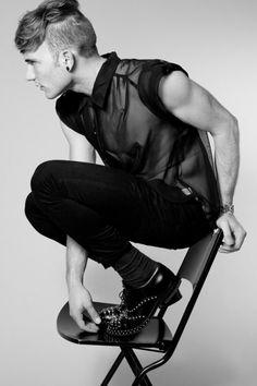 Men's black sleeveless sheer shirt