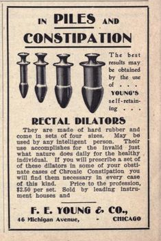 "Dr Young's Rectal Dilators -""May be used by any intelligent person. Butt plug, anyone?"