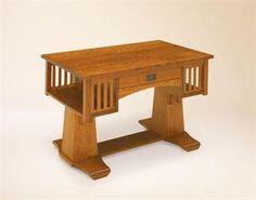 Amish Quarter Sawn Oak Wood Library Desk Table