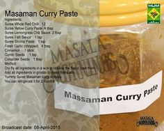 Masala Chef Recipes, Snack Recipes, Cooking Recipes, Massaman Curry Paste, Yellow Curry Paste, Curry Ingredients, Shrimp Paste, Tv Chefs, Masala Recipe