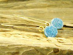 Long gold filled blue druzy quartz gem stone  by sherijewelry, $54.00