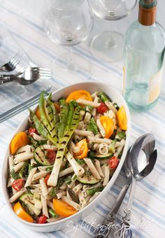 Grilled veggie pasta salad- gluten-free penne (the trick to keep gluten-free pasta salad soft is to make it right before you serve it- at room temperature; chilling hardens GF pasta).