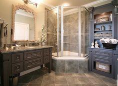 Corner Tub Shower : Corner Tub With Shower Combo. Corner tub with shower combo. Modern Bathroom, Small Bathroom, Master Bathroom, Bathroom Ideas, Bathroom Designs, Bathtub Ideas, French Bathroom, Bathrooms Decor, Modern Shower