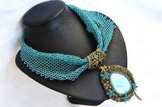 Turquoise Bronze Statement Beaded Necklace Scarf with Embroidered Pendant, Holiday Necklace, Fashion jewelry, Womens Gift, Gift for Her