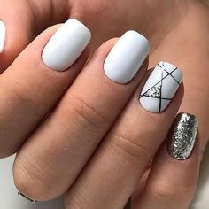 Try some of these designs and give your nails a quick makeover, gallery of unique nail art designs for any season. The best images and creative ideas for your nails. White Nail Designs, Nail Art Designs, Nails Design, Popular Nail Designs, Geometric Nail Art, White Nail Art, White Gel Nails, Silver Nail, Black Silver