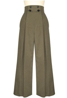Look hip in these pleated wide-leg retro inspired pants! These high waisted pants have four buttons on the front that function for the opening, with convenient Fashion Pants, Look Fashion, Hijab Fashion, Fashion Dresses, 1940s Fashion, Fashion Sewing, Vintage Fashion, Vintage Clothing 1940s, Capri Shorts