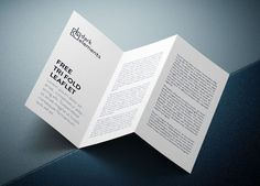 An all-layered mockup showing a tri-fold leaflet or brochure. PSD file with three smart objects. Dimensions: 2000 x 1400 px.