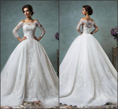 2016 Amelia Sposa Vintage Full Lace Wedding Dresses Off The Shoulder Long Sleeve Tulle Detachable Bridal Gowns Covered Buttons Court Train Civil Wedding Dresses Cream Wedding Dresses From Rieshaneeawedding, $141.37  Dhgate.Com