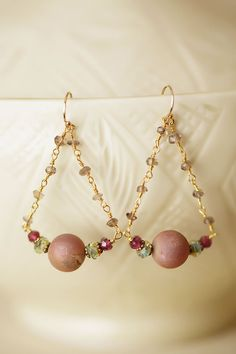Anne Vaughan Designs - Mauve Mix Gemstone Stirrup Earrings, $34.00 (http://www.annevaughandesigns.com/mauve-mix-gemstone-chandelier-dangle-earrings/)