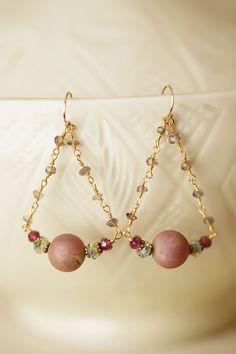 Anne Vaughan Designs - Mauve Mix Gemstone Stirrup Earrings, $34.00 (http://www.annevaughandesigns.com/mauve-mix-gemstone-chandelier-dangle-earrings/)