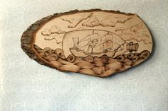 Ship in a bottle wood art wall decor. Hand by TimberleePyrography