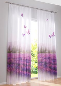 """Idyllische Ausblicke zum Träumen: mit dem Vorhang """"Provence"""" - flieder/lila, Kräuselband"""