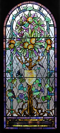The Tree of Life window - Emmanuel Chapel, Dublin, NH - Tiffany - This is one of 5 sections - window was fully restored in 2001.