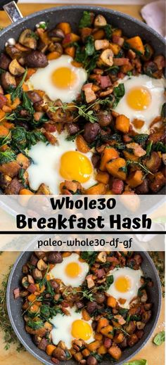 Whole 30 Breakfast Hash Recipe - whole 30 compliant - breakfast ideas eggs - one. - Whole 30 Breakfast Hash Recipe – whole 30 compliant – breakfast ideas eggs – one pan breakfas - Breakfast Hash, Healthy Breakfast Recipes, Vegetarian Recipes, Healthy Recipes, Breakfast Skillet, Whole30 Breakfast Ideas, Healthy Butternut Squash Recipes, Whole 30 Breakfast Casserole, Butternut Squash Hash