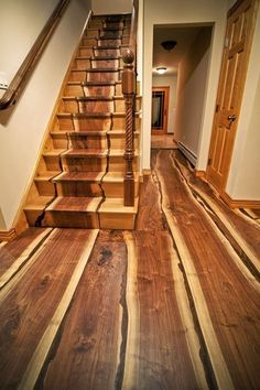 These hardwood floors and stairs are gorgeous! Natural organic log unique cabin These hardwood floors and stairs are gorgeous! Walnut Floors, Hardwood Floors, Walnut Wood, Burnt Plywood Floors, Real Wood Floors, Floor Design, House Design, Yard Design, Wooden Stairs