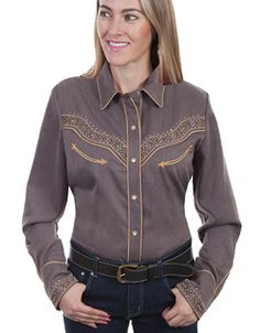 c412825a This Scully Women's Heather Brown Studded Retro Western Shirt is embroidered  on the front and back