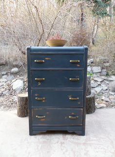 Navy Blue Distressed Waterfall Dresser / Chest by TheRusticRiver Art Deco Furniture, Funky Furniture, Refurbished Furniture, Paint Furniture, Repurposed Furniture, Furniture Projects, Furniture Makeover, Vintage Furniture, Furniture Design