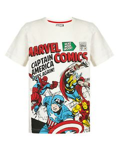 Pure Cotton Marvel Comic Characters T-Shirt with Stickers Clothing Marvel Comics, Luxury Nightwear, Marvel Clothes, Super Hero Outfits, Disney Boys, Marvel Shirt, Marvel Comic Character, Boys Pajamas, Cheap Clothes