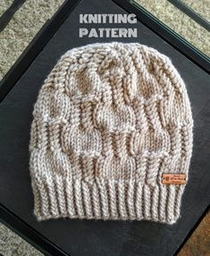 Knit Beanie Pattern, Spring Beanie Pattern, Knit Hat Pattern, Knit Beanie, Knit Hat, Hat Pattern, Beanie Pattern, Textured Beanie Pattern Chunky Hat Pattern, Knit Beanie Pattern, Knitted Hats, Crochet Hats, Yarn Sizes, Cute Hats, Hat Patterns, Chunky Yarn, Beanies