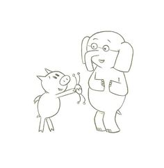 Elephant And Piggie Coloring Page  School Library Stuff