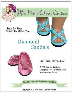 "Diamond Sandals 18"" Doll Shoes"
