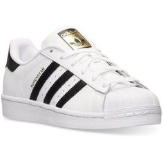 adidas Women's Superstar Casual Sneakers from Finish Line ($80) ❤ liked on Polyvore featuring shoes, sneakers, low profile sneakers, leather upper shoes, retro sneakers, low top and adidas shoes