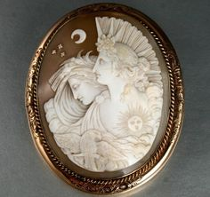 Large Victorian 9ct Gold Carved Shell Cameo Brooch of Day Night Circa 1860s | eBay