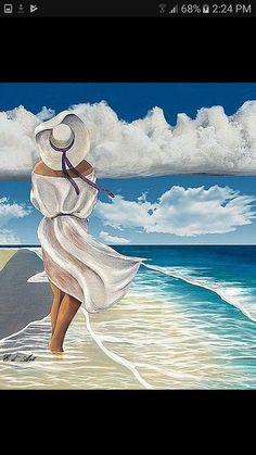 Trendy Womens Back Painting Art 67 Ideas Acrylic Painting Canvas, Canvas Art, Back Painting, Painting Art, Indian Art Paintings, Pastel Art, Beach Scenes, Beach Art, Beautiful Paintings
