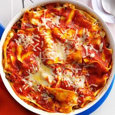 Saucy Skillet Lasagna Recipe -Thanks to no-cook lasagna noodles, this skillet lasagna makes a fresh, filling, flavorful and fast entree for any Italian meal. —Meghan Crihfield, Ripley, West Virginia