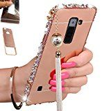 [1-Pack][2-IN-1]LG K7 Case, LG Tribute 5 Case, AMASELL Luxury Bling 3D Sparkle Diamond Metal Frame Bumper + Ultra Slim Acrylic PC Hard Mirror Back Cover With Pearl Tassels (Rose Gold with bling)