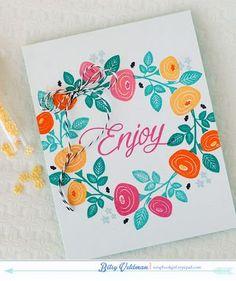 Enjoy Wreath Card by Betsy Veldman for Papertrey Ink (February 2015)