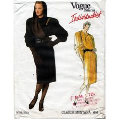 Vogue sewing pattern, Vogue Individualist 1652 , Size 14, Bust 36 inches, Claude Montana, 80s Vogue, iconic 80s design.  This looks so Grace Jones. If