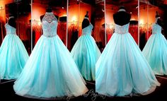 This amazing ball gown features a halter illusion neckline completely beaded ending with a beaded choker. Lace-up back for easy up or downsizing. The full floor length skirt is constructed of sparkly tulle and mesh layers. Absolutely stunning and ONLY at Rsvp Prom and Pageant, Atlanta, GA or BUY it HERE at http://rsvppromandpageant.net/collections/long-gowns/products/turquoise-ball-gown-beaded-high-illusion-neckline-sweetheart-bodice-115bp0540100479