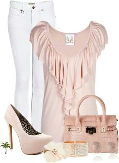 Pinkish nude and white