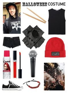 """Josh Dun Inspired Costume"" by pattibear ❤ liked on Polyvore featuring T By Alexander Wang, Victoria's Secret PINK, Christian Dior, Converse, Steinbach and Black"