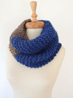 Blue to Beige Big Cosy Scarf by allapples on Etsy, $28.00