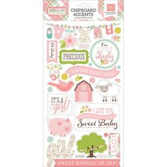 """Bundle Of Joy/A New Addition Chipboard Accents 6""""X13"""" - Baby Girl"""