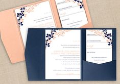 DiY Pocket Wedding Invitation Template Set - Instant DOWNLOAD - EDITABLE TEXT - Exquisite Vines (Navy & Peach) - Microsoft® Word Format