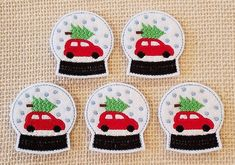 Snow Globe Felties-Pack of 5, Felt Embroidered Applique, Craft & Card Emb., Scrapbooking, Hair Clip Accessory, Headbands, Bookmarks by LeahLynnCreations on Etsy
