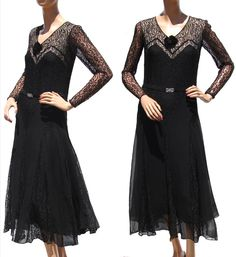 On Ruby Lane - Vintage Early 30s Art Deco Black Chiffon and Lace Dress, $350
