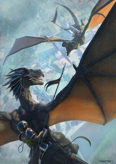 Knights Riding Dragons | ArtStation - Dragon battle - Girocòmic poster, Rafael Teruel Dragon Knight, Dragon Rider, Fantasy Dragon, Fantasy Warrior, Fantasy Creatures, Mythical Creatures, Fantasy Kunst, Vegvisir, Dragon Artwork