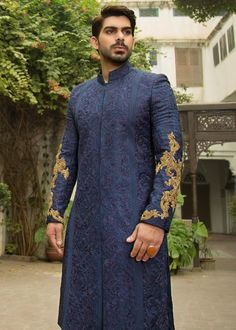 Awesome Pakistani Sherwani Ideas 2020 | Daily InfoTainment Blue Sherwani, Mens Sherwani, Sherwani Groom, Wedding Sherwani, Embroidery Online, Navy Blue Color, Pakistani Dresses, Dress Making, Bridal Dresses