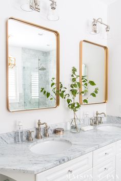 Are you hesitant to use mixed metal bathroom fixtures in your home? Mixing metals is becoming more and more popular in interior home decor, and theres no better place to experiment with this design trend than in a bathroom: Hardware, plumbing fixtures, and lighting all provide beautiful opportunities to mix metals. #bathroomdesign #hardware #modernfarmhouse